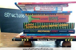 We stacked science books on our egg shells!